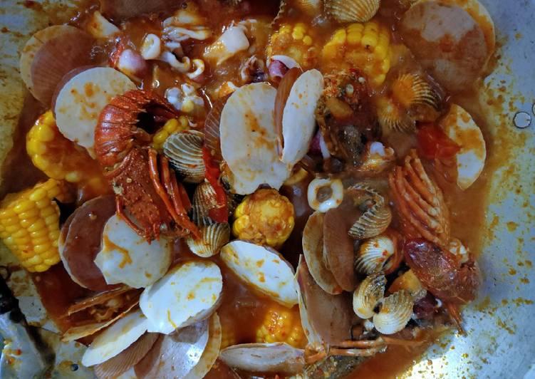Cara Mudah membuat Seafood campur saus padang lezat