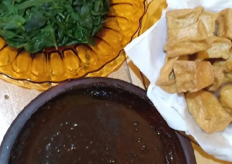 Resep: Petis Kangkung (kangkung rebus dan sambal petis) lezat