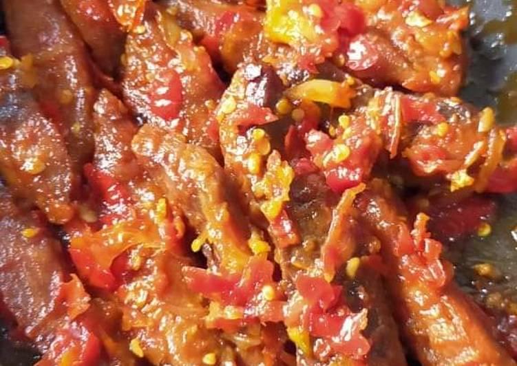 Resep: Ikan tuna asap sambal rica Hj lis lezat