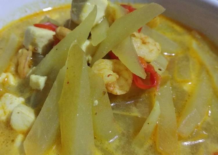 Cara Mudah membuat Sayur santan labu siam udang sedap