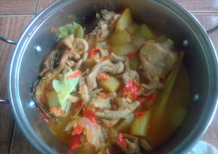 Cara membuat Tengkleng Ayam plus kentang, kol ala resto