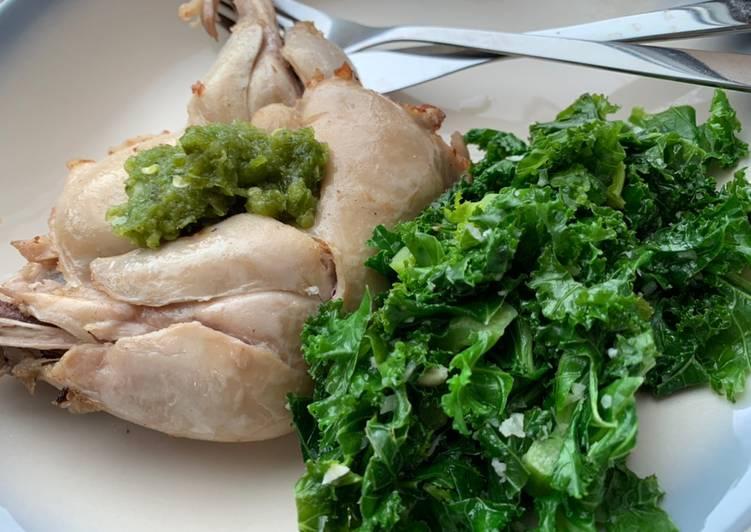 Cara membuat Bikin sendiri di UK, Ayam pop ala restoran padang dengan cabe ijo dan kale (pengganti daun singkong) yang bikin ketagihan