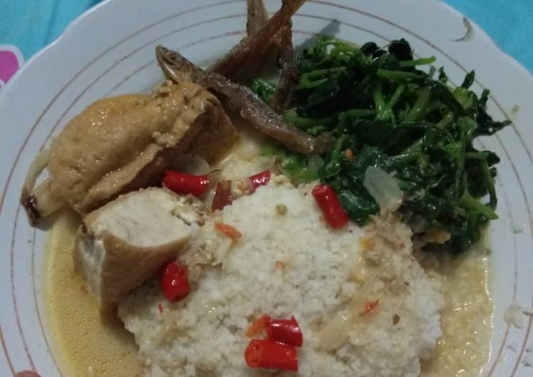 Nasi Jagung kuah sambel tumpang ikan asin dan sayur