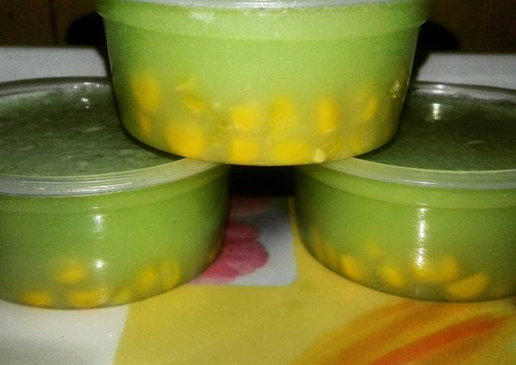 Cara memasak Puding Kacang Ijo Jagung Aroma Melon Ala Bujang Ting-ting yang bikin ketagihan