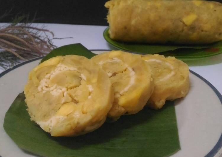 Resep: Getuk ubi keju gulung sedap
