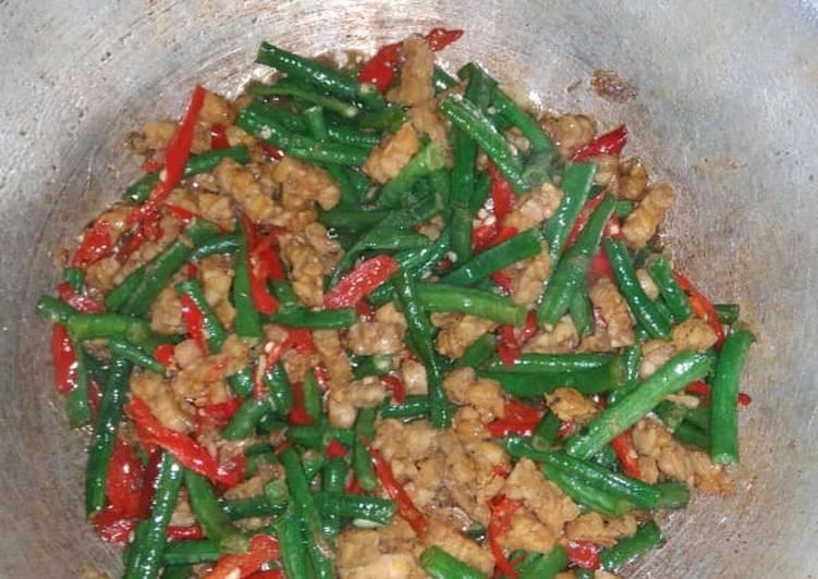 Resep: Oseng tempe kacang panjang pedas ala resto