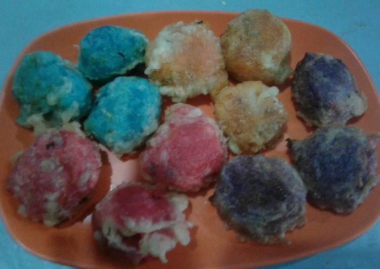 Resep membuat Getuk goreng isi meises warna warni enak