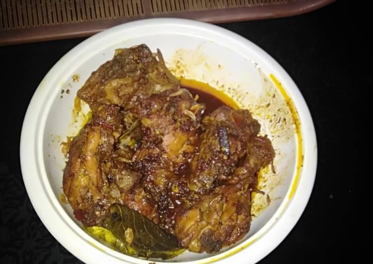 Resep: Rendang ayam bumbu instan mix bumbu uleg enak