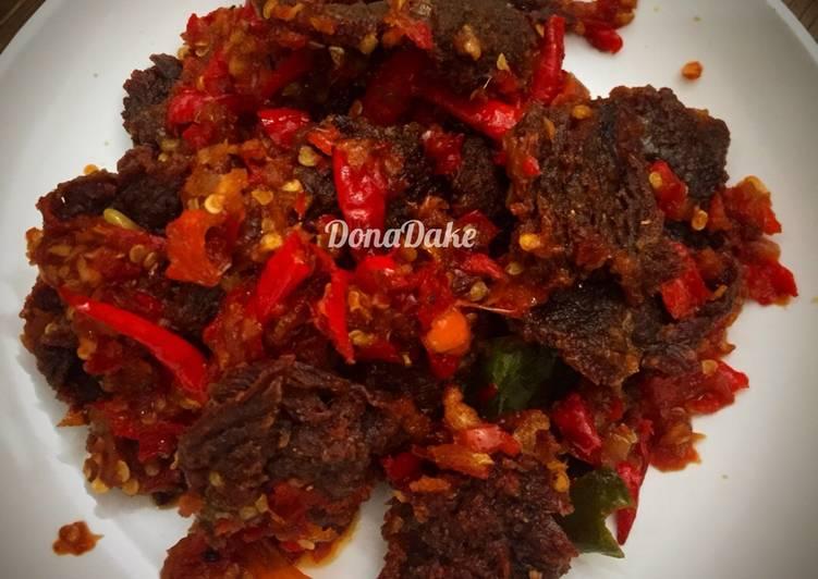 Cara memasak Dendeng batokok lado merah sedap