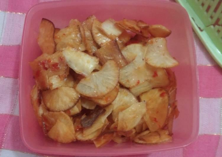 Resep: Keripik Singkong balado asam manis/manis pedas yang menggugah selera
