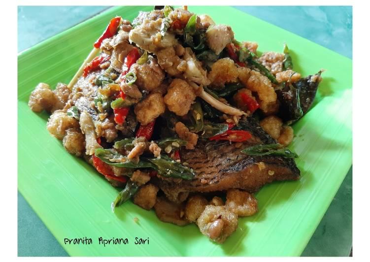Resep memasak Ikan sambel tauco kerupuk jangek