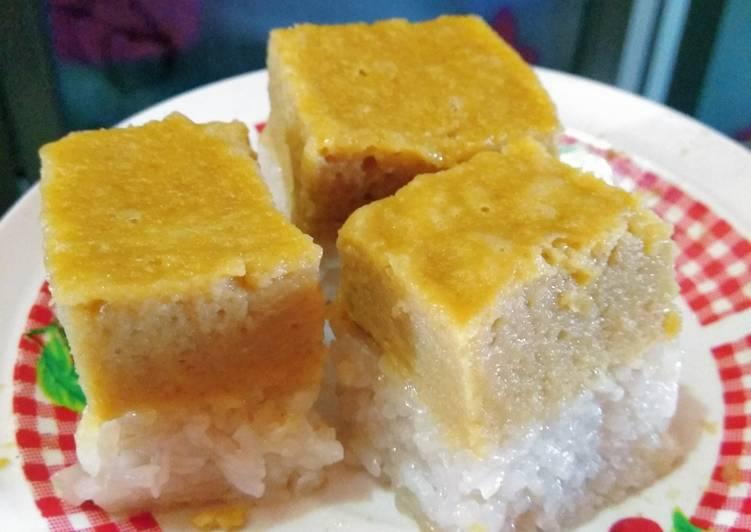Cara memasak Ketan sarikaya durian(kue talam ketan durian) yang bikin ketagihan
