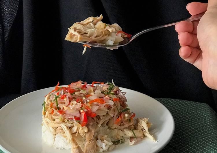 Resep: Ayam Suwir Sambal Matah + Nasi Gurih yang menggugah selera