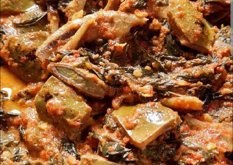 Cara Mudah membuat Sambalado tanak daun ubi,petai & teri (khas minang) lezat