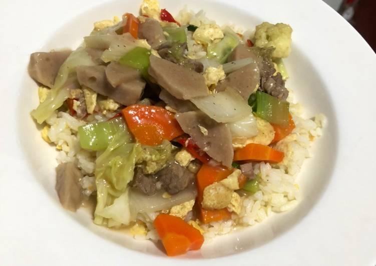 Resep memasak Nasi siram capcay daging lezat
