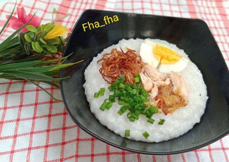 Resep membuat Bubur nasi toping ceria ala resto