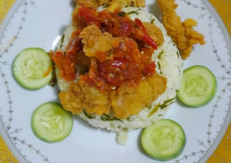 Cara memasak Nasi daun jeruk chicken popcorn sambal korek lezat