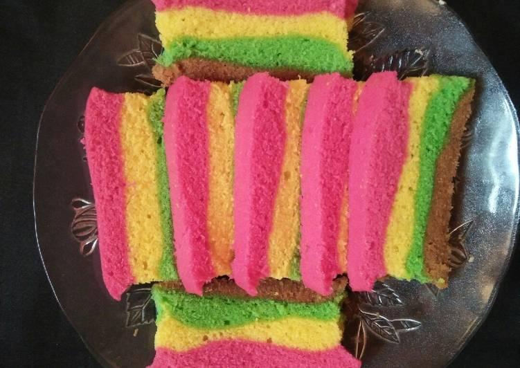 Resep membuat Bolu lapis kukus rainbow sedap