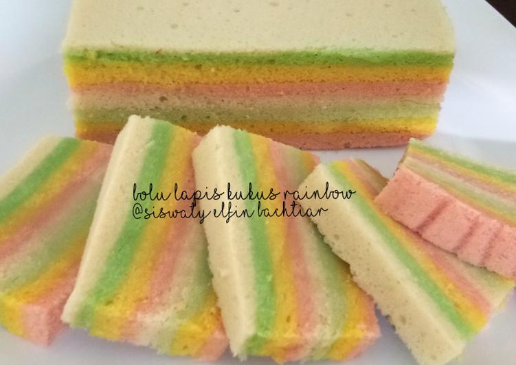 Resep membuat Bolu lapis kukus rainbow lezat