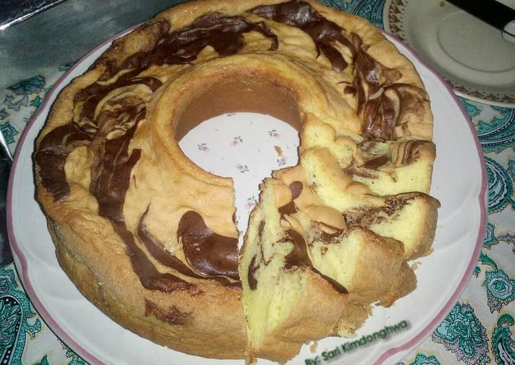 Cara Mudah memasak Bolu Marmer dengan resep cake putihnya lapis malang istimewa